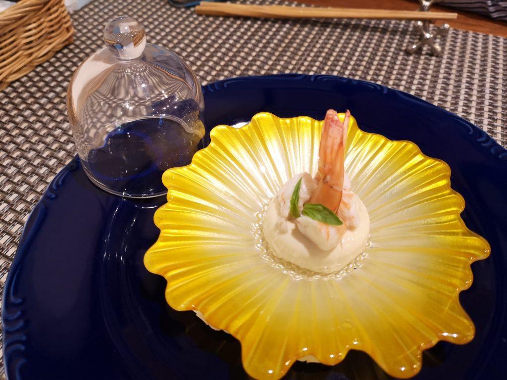 前菜「エビと豆乳のブランマンジェ~濃厚ウニ風味~」